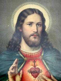 ANTIGUA IMAGEN RELIGIOSA - SAGRADO CORAZÓN - JESÚS - PRECIOSOS COLORES - CARTÓN - LITOGRAFÍA - Foto 1