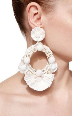 Raffia Fan Hoop Earrings by RANJANA KHAN Now Available on Moda Operandi
