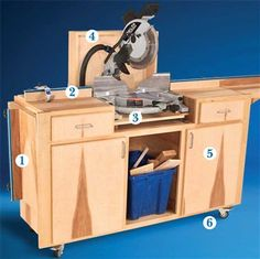 AW Extra - Mobile Miter Saw Stand - Popular Woodworking Magazine Woodworking Magazine, Woodworking Workshop, Woodworking Jigs, Carpentry, Woodworking Projects, Woodworking Equipment, Woodworking Basics, Woodworking Patterns, Woodworking Classes