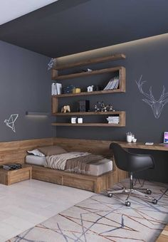 Most beautiful youth room ideas House decoration ideas - part Schönsten Jugendzimmer Ideen Bedroom Setup, Room Ideas Bedroom, Small Room Bedroom, Bedroom Decor, Teen Bedroom, Mens Room Decor, Bedrooms, Home Room Design, Modern Bedroom Design