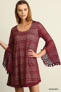 Umgee-Aline-Dress-Burgundy-Lace-Fully-Lined-Split-Bell-Sleeves-Boutique-Fashion