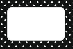 Preto e Branco com Bolinhas - Kit Completo com molduras para convites, rótulos para guloseimas, lembrancinhas e imagens! - Fazendo a Nossa Festa