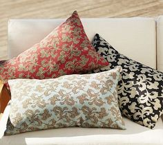 """For bench: Alden Floral Outdoor Lumbar Pillow  $39.50;     A detail from a Victorian dress is updated as a damask-style print on our lumbar pillow.16 x 26""""; Woven of soft, water-repellent polyester. Reverses to self. Spot clean.      Internet Only; #potterybarn Outdoor Cushions, Outdoor Fabric, Indoor Outdoor, Dinning Nook, Lumbar Pillow, Bed Pillows, Sectional Furniture, Black Pillows, Pottery Barn"""
