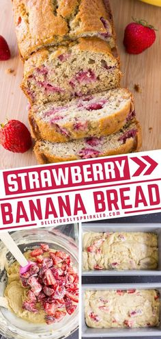 Learn how to make strawberry banana bread! The addition of fresh strawberries takes this quick bread recipe to a whole new level. So moist and delicious, it sure to become one of your favorites! Save this pin and bake up a loaf to enjoy for breakfast or as a snack idea! Easy Drink Recipes, Brunch Recipes, Dessert Recipes, Desserts, Best Bread Recipe, Bread Recipes, Cooking Recipes, Strawberry Banana Bread, Strawberry Recipes