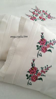 myçeyizcim Chandelier Wedding Decor, Wedding Decorations, Cushion Embroidery, Embroidered Pillowcases, Bed Linen Sets, Linen Bedding, Bed Sheets, Embroidery Designs, Cross Stitch