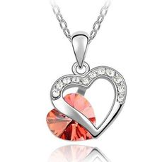 Heart Shape Design Pendant Light Red Swarovski Elements Crystal Necklace for Women 18k White Gold Plated Chain Amethyst with Gift Box Valentine's Day Gift  $15.99