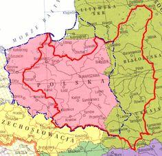 Map. Polish times borders.