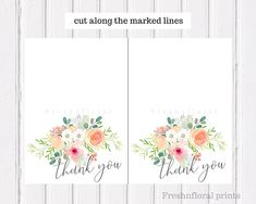 Anniversary Cards Printable Custom Floral Thank You Card Printable Thank You Card Baby Shower Cards .