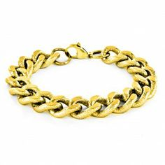 Crucible Gold Plated Stainless Steel Polished And Grooved Curb Chain Bracelet