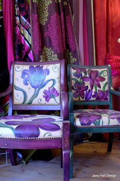 Pair of Hand Painted and Upholstered Floral Arm Chairs by Jane Hall. Versions of Bohemian Style have been with us since the late 19th century. The gypsy culture and the Bloomsbury group active in the early 20th century have been influences on this style sometimes referred to as Boho Chic.