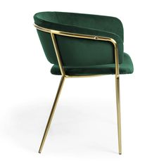 Armchair Runnie green with gold metal feet - Kave Home Industrial Furniture, New Furniture, Furniture Design, Velvet Office Chair, Contemporary Dining Chairs, Dining Table Design, Occasional Chairs, Metallic Paint, Chair Design