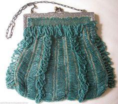 Vintage Art Nouveau Silver Tone Frame Tan Knit Crochet Emerald Green Bead Purse #EveningBag