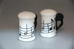 Music note salt and pepper shaker set music by TheVintageBoomer