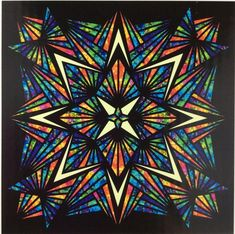 Bali Batik 1895 Crystal Prism Quilt Kit Hoffman Fabrics by Jeanie Sumrall-Ajero Bargello Quilt Patterns, Quilt Block Patterns, Quilt Blocks, Crochet Patterns, Quilting Projects, Quilting Designs, Quilting Ideas, Sewing Projects, Stained Glass Quilt