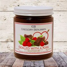Sealed With A Kiss Preserves | A Treat for Valentines Day! Mason Jar Crafts, Mason Jars, Great Valentines Day Gifts, Canning Jars, Balsamic Vinegar, Preserves, Nutella, Cocoa, Raspberry