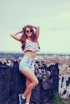 Shop this look on Kaleidoscope (top, shorts, sneakers, sunglasses)  http://kalei.do/WAzgftKKaL7dmVTy