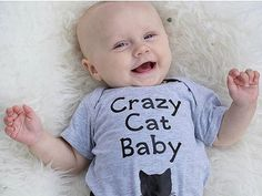 Cat baby onesie, baby clothes, crazy cat baby, hipster, cute kitten, bodysuit clothing - funny baby shower gift for baby boy, baby girl
