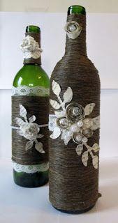 13 Ideas hermosas para decorar botellas con cordón de henequén ~ lodijoella