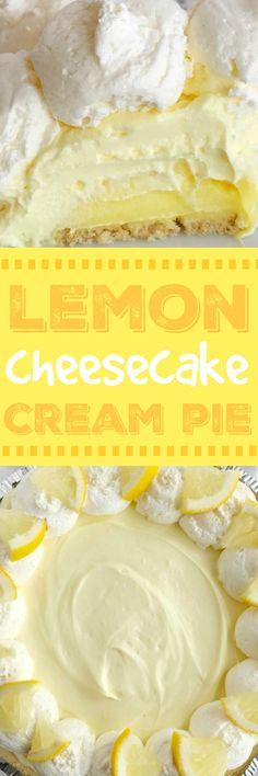 Lemon Cheesecake Cream Pie is a no bake dessert that is so creamy and bursting w., Desserts, Lemon Cheesecake Cream Pie is a no bake dessert that is so creamy and bursting with fresh and sweet lemon flavor! Perfect for a summer dessert, at a b. Citrus Recipes, Tart Recipes, Best Dessert Recipes, Baking Recipes, Recipes Dinner, Summer Recipes, Make Ahead Desserts, Köstliche Desserts, Delicious Desserts