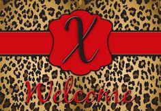 Leopard Initials Welcome Mat