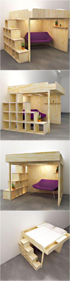 2Person-Loftbed 'CARLOS' D.I.Y, by Neo-Eko Dutch Design. | Ideaal voor een kleine woning: deze tweepersoons hoogslaper schept extra leefruimte en opbergruimte. Je kunt hem vrij in de ruimte neerzetten en een knus hoekje maken om TV te kijken of een boek te lezen. Geïnspireerd op oplossingen voor Tiny houses is dit een tiny house voor een klein huisje ...of juist grote ruimte.