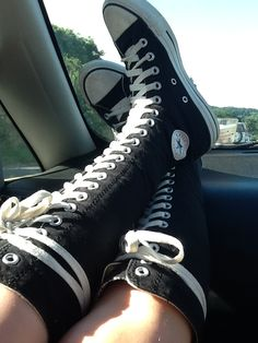 My knee high converse. Knee High Converse, Knee High Sneakers, High Shoes, High Heel Boots, Shoe Boots, Cool Converse High Tops, Cute Shoes Boots, Green Sneakers, Converse Outfits