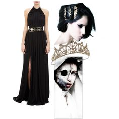 Hel: Goddess of death & Queen of the underworld (Helheim) by onewiththewind on Polyvore featuring Juan Carlos Obando, TIARA, Mina Ro Mina, Loki, queen, mythology, underworld and norse