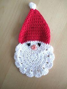 kerstman, onderzetter, gehaakt, heyleuk, haken Christmas Time, Christmas Crafts, Christmas Decorations, Christmas Ornaments, Christmas Crochet Patterns, Knit Patterns, Crochet Christmas, Beautiful Crochet, Crochet Hats