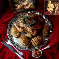 Roast chicken, stuffed with fresh lemons, garlic, onion and rosemary,served with perfectly crisp hasselback potatoes and a tomato chipolata. Created by  Shafeeqa Effendi #picknpay #freslyblogged #recipe