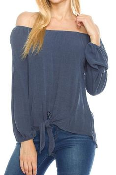 A Fall Top - Off Shoulder Long Sleeve Front Knot Detail Top