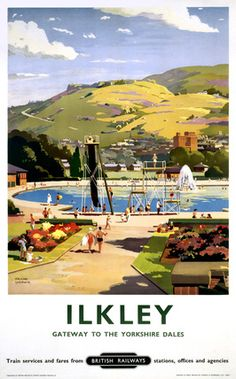 1957 British Railways LNER Poster of ILKLEY Gateway to the Yorkshire Dales by artist Frank Sherwin 1896 - 1986 This poster is printed using only Posters Uk, Train Posters, Railway Posters, Poster Prints, Art Prints, British Travel, Travel Ads, Train Travel, Travel Photos
