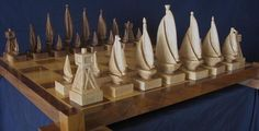 maple and walnut Custom Made Custom Carved Chess Sets, Chess Pieces, and Chess Tables