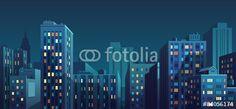 Wektor: Night cityscape. Vector illustration.