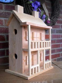 Birdhouse. Folk art primitives, rustic 4 nest birdhouse, dollhouse display