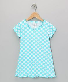 Take a look at this Aqua Punch Polka Dot Lettuce-Edge Dress - Infant, Toddler & Girls by Flap Happy on #zulily today!