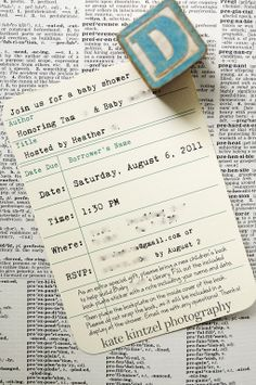 library card invitations @ Donna Conklin I can see this as your save the date!
