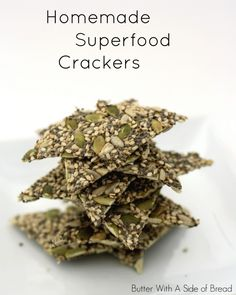 Homemade Superfood Crackers packed full of protein and fiber! recipe crackers chia is part of Superfood recipes - Raw Food Recipes, Vegetarian Recipes, Cooking Recipes, Healthy Recipes, Dinner Recipes, Homemade Crackers, Chia Crackers Recipe, Chia Seed Crackers, Sweets