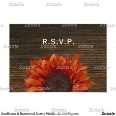 Sunflower & Barnwood Rustic Wedding RSVP