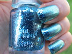 """The Cats Claws: Skin Food Pedicure Sparkle #8 / """"Korean nail polishes, this is Skin Food Pedicure Sparkle #8 a cool mint green (according to the description on the website) sparkly foil effect finish. I would say its more a turquoise colour though. With Missha Crystal Nail Polish Blue Stone, as a french tip. With three coats of Seche Vite to make the glitter tips totally smooth. And look how reflective that glitter is!"""""""