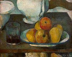 Paul Cézanne - Stilleben mit Äpfeln und Weinglas