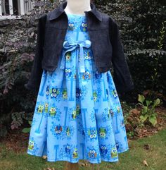 Girls Blue Owl Tea Length Dress with by hollyhockclothing on Etsy