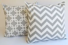 Items similar to Gray Pillows set of two throw pillow covers Storm Gray Chevron zig zag and Gotcha Chain Links Cusion covers on Etsy Yellow Pillow Covers, Yellow Pillows, Grey Pillows, Throw Pillow Covers, Throw Pillows, Gray Chevron, Chain Links, Make Beauty, Pillow Set