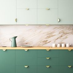If you don't have thousands to spare for a full renovation, luckily there are so simple and affordable tricks you can use to revamp your kitchen, such as repainting cabinets and upgrading the handles (stock image) Kitchen Cabinets In Bathroom, Wooden Kitchen, Repainted Kitchen Cabinets, Palette Verte, Repainting Cabinets, Paint My Room, Best Kitchen Colors, Deco Champetre, Mid Century Modern Kitchen