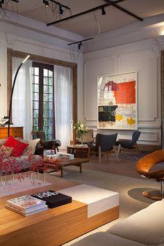 layers...great french doors, sheer drapes, detailed moulding, artwork...casa cor rio, rio de janeiro