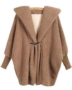 Abrigo suelto con capucha manga larga-Café