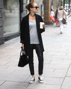 Morning coffee // big black cardigan // grey scoop neck T // leather leggings // converse