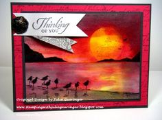 Thinking of You- Sunset at the Shore by Julie Gearinger - Cards and Paper Crafts at Splitcoaststampers