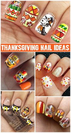 Crafty Thanksgiving Nail Ideas to Try (Find turkeys, pilgrim hats, minions, feathers, and more!) | CraftyMorning.com