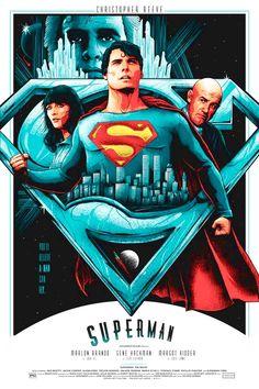 Superman by Matt Ryan Tobin - Home of the Alternative Movie Poster -AMP- Superman Movies, Superman Art, Superman Family, Superman Man Of Steel, Superhero Movies, Batman, Superman Poster, Christopher Reeve Superman, Bd Comics