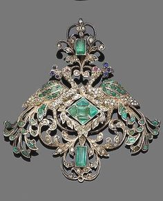 A mid-19th century emerald, sapphire, ruby and diamond pendant